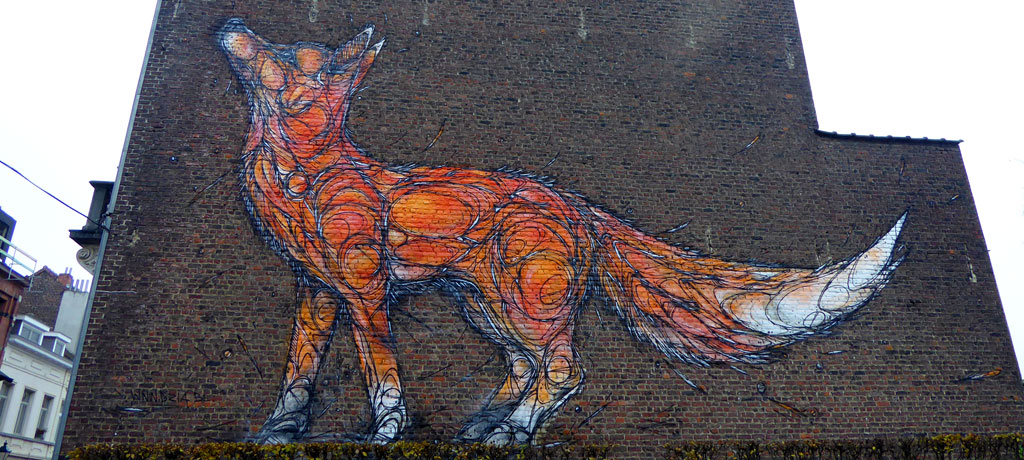 Street art Dzia Fox en Bruselas