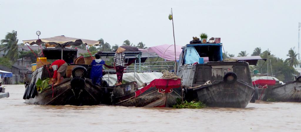 Mercado flotante Cai Rang a las afueras de Can Tho